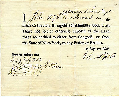 Revolutionary War Soldier Land Grant Received From Congress Or New York State