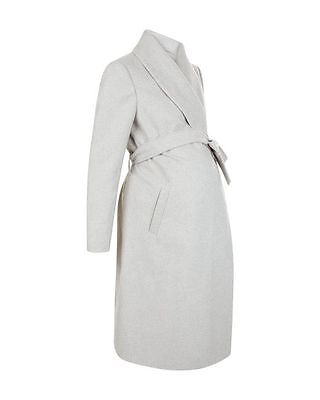 Silver Grey Belted Warm Winter Midi Length Maternity Coat UK Size 12 or 14 New