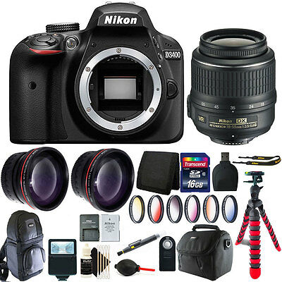 Nikon D3400 24.2 MP Digital SLR Camera + 18-55mm Lens with 16GB Accessory Bundle