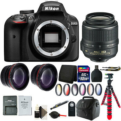 Nikon D3400 24.2 MP Digital SLR Camera + 18-55mm Lens with Deluxe Accessory Kit