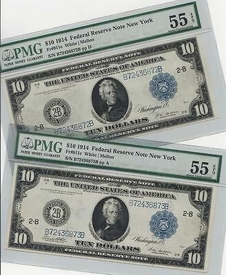 *TWO CONSECUTIVE* Type C 1914 $10 FRN - PMG Almost Uncirculated AU 55EPQ - C2C