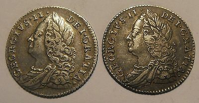 1758 & 1757 George II Sixpence. Collectable.
