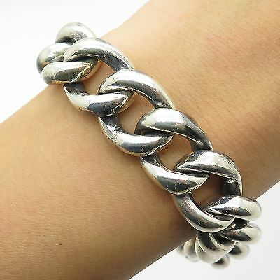925 Sterling Silver Thick Heavy Wide Men's Cuban Link Bracelet 6 3/4""