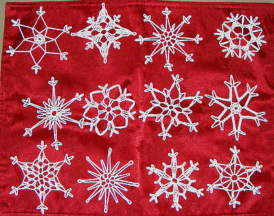 Set of 12 Starched Hand Crocheted Snowflakes