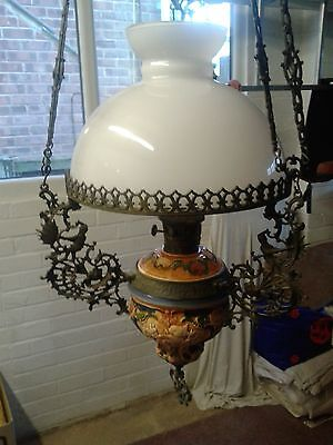 Antique Style Cast and Pottery - Hanging Oil Lamp