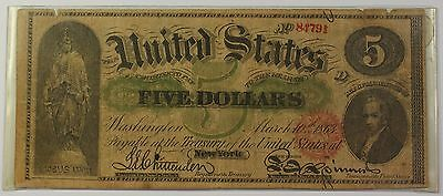 1863 United States $5 Five Dollar Note Contemporary Counterfeit Currency WW