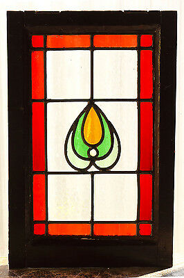 Antique Stained Glass Window Four (4) Color Art Nouveau Ruby Red Border   (2999)