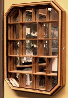 """vintage Wall Curio mirror back 17 opening display Case 12 1/4"""" x 16"""" x 2"""""""