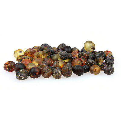 60 Loose Amber Beads - Raw Unpolished Green 3-4mm Width - Pre-Drilled Holes DIY