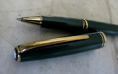 Beau Stylo Roller Montblanc Generation Vert & Pl. Or 18 Carats