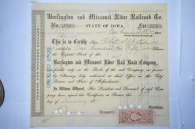 Burlington and Missouri River Railroad Stock Certificate 1870, Tax Stamp