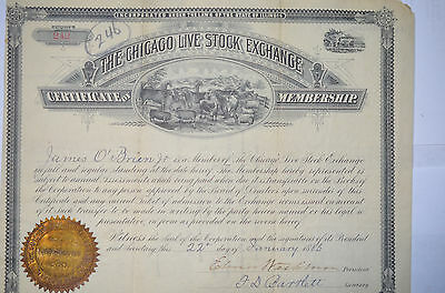 Chicago Live Stock Exchange Membership Certificate January 1886