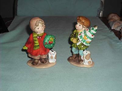Vintage Boy Girl Christmas Figurines Hand Painted In Bright Colors Excellent