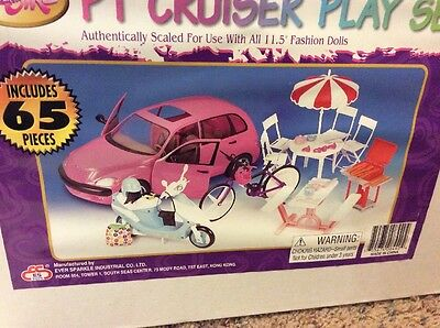 PT Cruiser Car and Doll Playset With Scooter Bike And Tables/Chairs