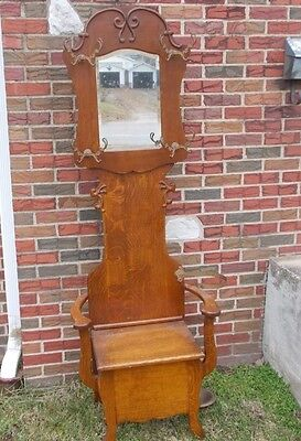 "Antique Oak Hall Tree 77"" All Original Coat Hooks & Umbrella Stand Bevel Mirror"