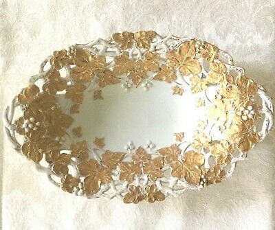 Antique Meissen Reticulated Bowl-Crossed Swords-1st Quality-White & Gold    #892