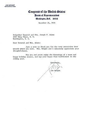 Genuine 1977 Autograph Letter from Texas Rep. & later House Speaker Jim Wright