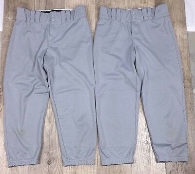 Lot of 2 Under Armour Two Button two pocket Gray Baseball/Softball pants M - 170