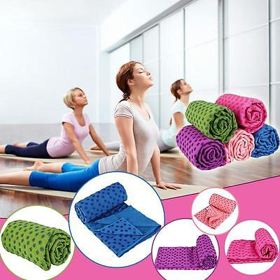 Yoga Towel Plum Anti-Slip Mat Cover Pilates Soft Fitness Sports with Carry Bag