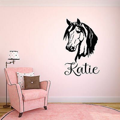 Personalised Girls Horse Childrens Wall Sticker Decal! Bedroom/Nursery