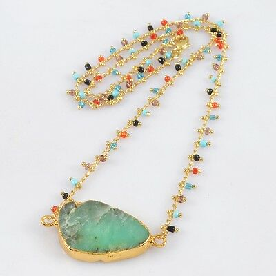 """19.5"""" Australia Natural Chrysoprase Rainbow Beads Necklace Gold Plated B027528"""