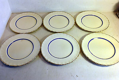 "6 Small Plates Grindley England, Conway 1, 1936-54, Cream, Blue Band, 7"" (4643)"