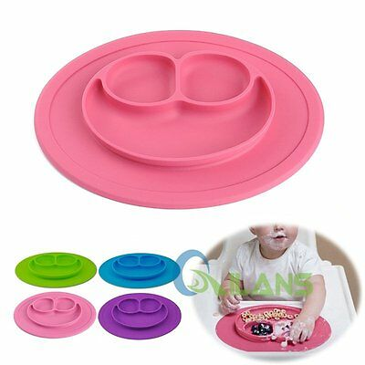 One-piece Silicone Mat Baby Kids Suction Table Food Tray Placemat plate AU SHIP