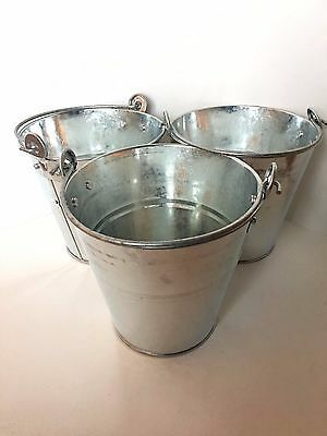 "3 PACK Galvanized BUCKETS 6""  6.25""  4""  ARTS CRAFTS WEDDINGS DECORATIONS BBQ"