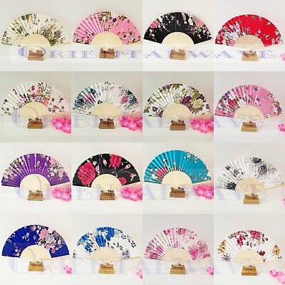 10PCS Japanese/Chinese Silk Bamboo Floral Fans Wholesale Lots Wedding Party Gift