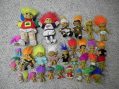 Lot Of 33 Troll Dolls By Russ, Hasbro, Ace Novelty - FREE SHIPPING !!