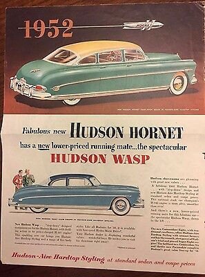 1952 Original Yellow  Hudson Hornet and Hudson Wasp Vintage Magazine Print Ad