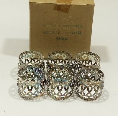 Vintage Lot of 6 Silver Plated Napkin Rings Cut Punched Lace Pattern Set in Box