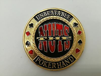 The Nuts Unbeatable Poker Hand Golden Poker Chip Coin Card Guard Protector