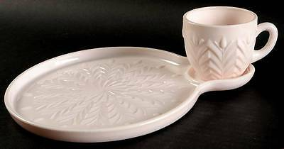 Jeannette Glass SHELL PINK MILK GLASS Snack Plate & Cup 3359272