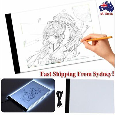 AU A4 LED Light Box Art Design Stencil Board Drawing Tracing Light Box Copy Pad