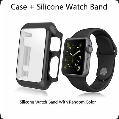 New 2 in 1 Clear Apple Watch 42mm Hard & Slim Protective Case with Silicone Band