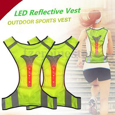 LED Reflective Safety Vest For Running Jogging Cycling Walking High Visibility