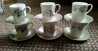 Vintage Royal Adderley Arcadia / Ophelia / Adelphi Coffee Cups & Saucers