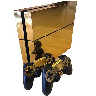 Glossy Gold Decal Skin Sticker Cover PS4 Playstation 4 Console & Controller 4529