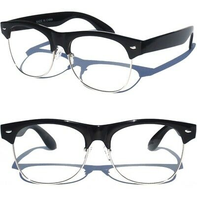 Retro Half Top Brow Frame CLEAR LENS GLASSES BLACKAND AND SILVER New