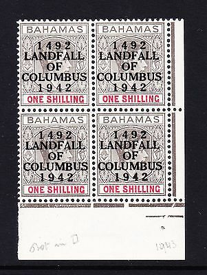BAHAMAS 1942 1/- GREY-BLACK & BRT CRIMSON WITH DOT IN '2' & BROKEN 'A' SG 171b.
