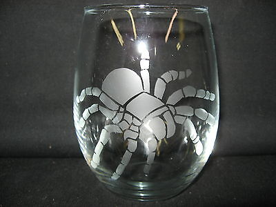 New Etched Tarantula Spider Stemless Wine Glass Tumbler