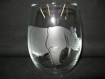 New Etched Sumatran Rhinoceros Stemless Wine Glass Tumbler