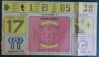 1978 WORLD CUP FINALS - MATCH TICKET ARGENTINA vs ITALY - MATCH 17 -  10th JUNE