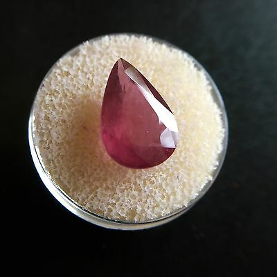 Huge NATURAL Ruby 7.67ct Deep Red Pear Cut Gem Jewellery Stone