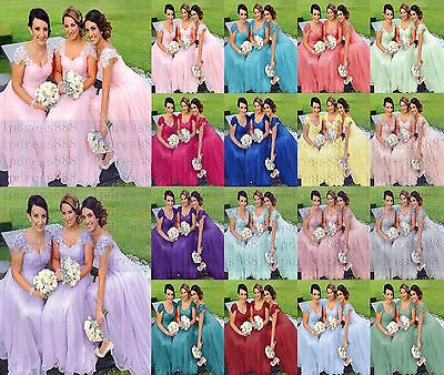 Formal Long Lace/Chiffon Prom Party Ball Bridesmaid Evening Dress Size 6-18