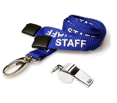 Metal Referee's Sports Whistle & Hi Quality 15Mm Staff Lanyard Blue - Uk Stock