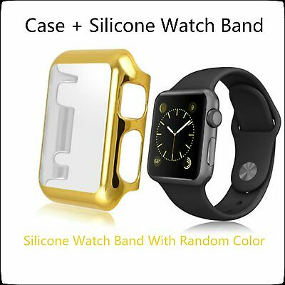 Gold 2 in 1 Clear Apple Watch 38mm Hard & Slim Protective Case / Silicone Band