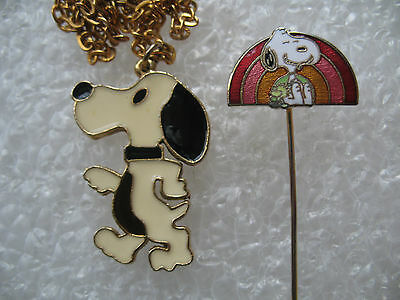 Vintage Peanuts Snoopy Necklace & Enamel Stick-Pin