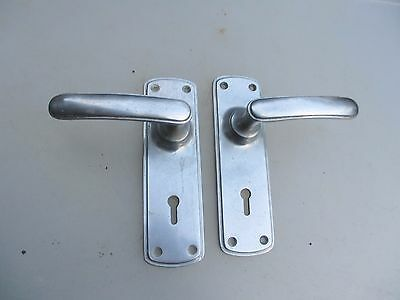 Vintage Chrome Lever Door Handles Nickel Art Deco Architectural Antique Old 1929